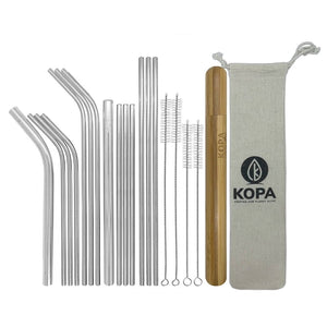 20pc Mixed Stainless Steel Straw Set - Reusable Straws