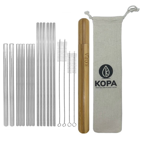 20pc Straight Stainless Steel Straw Set - Reusable Straws