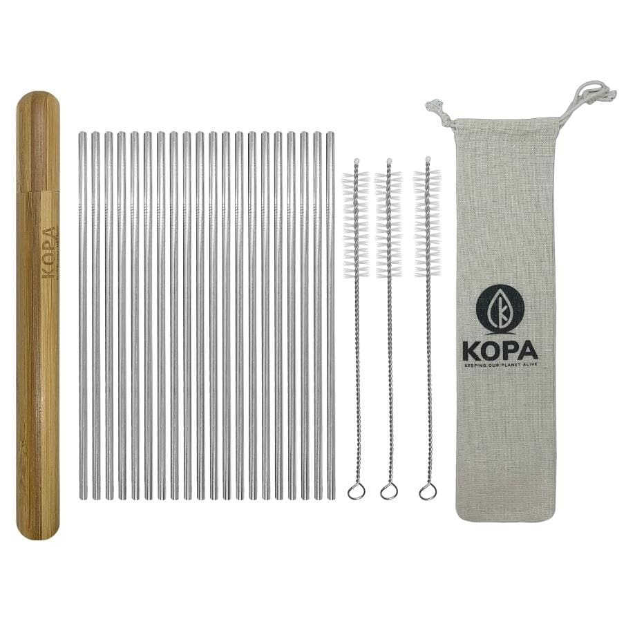 25pc Bulk Straight Stainless Steel Straw Set - Reusable Straws