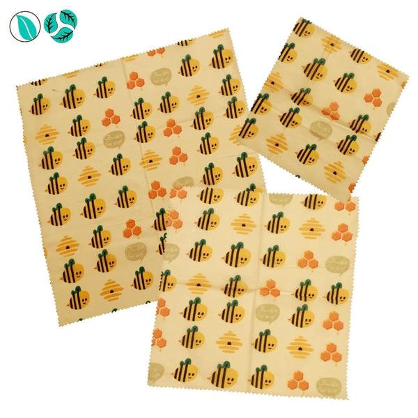 3pc Beeswax Food Wraps - Bees and Hives - Beeswax Food Wraps