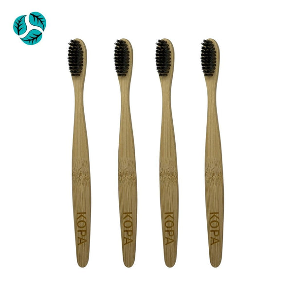 4pc Bamboo Toothbrushes - Adult Grey - Bamboo Toothbrush