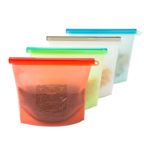 4pc Reusable Silicone Food Storage Bags - Reusable Bags and Containers