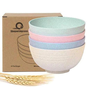 4pc Wheat Straw Plastic Bowls - Bowls
