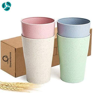 4pc Wheat Straw Plastic Tumblers - Cups and Tumblers