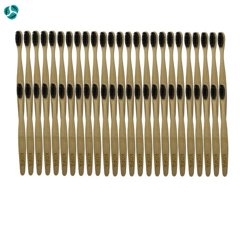 50pc Bamboo Toothbrushes with Charcoal Bristles - Bamboo Toothbrush