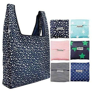 6pc Folding Reusable Shopping Bags - Default - Shopping Bag