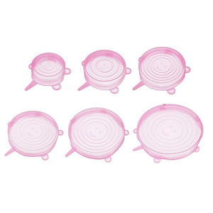 6pc Silicone Stretch Lids - Brights - Pink - Silicone Stretch Lids