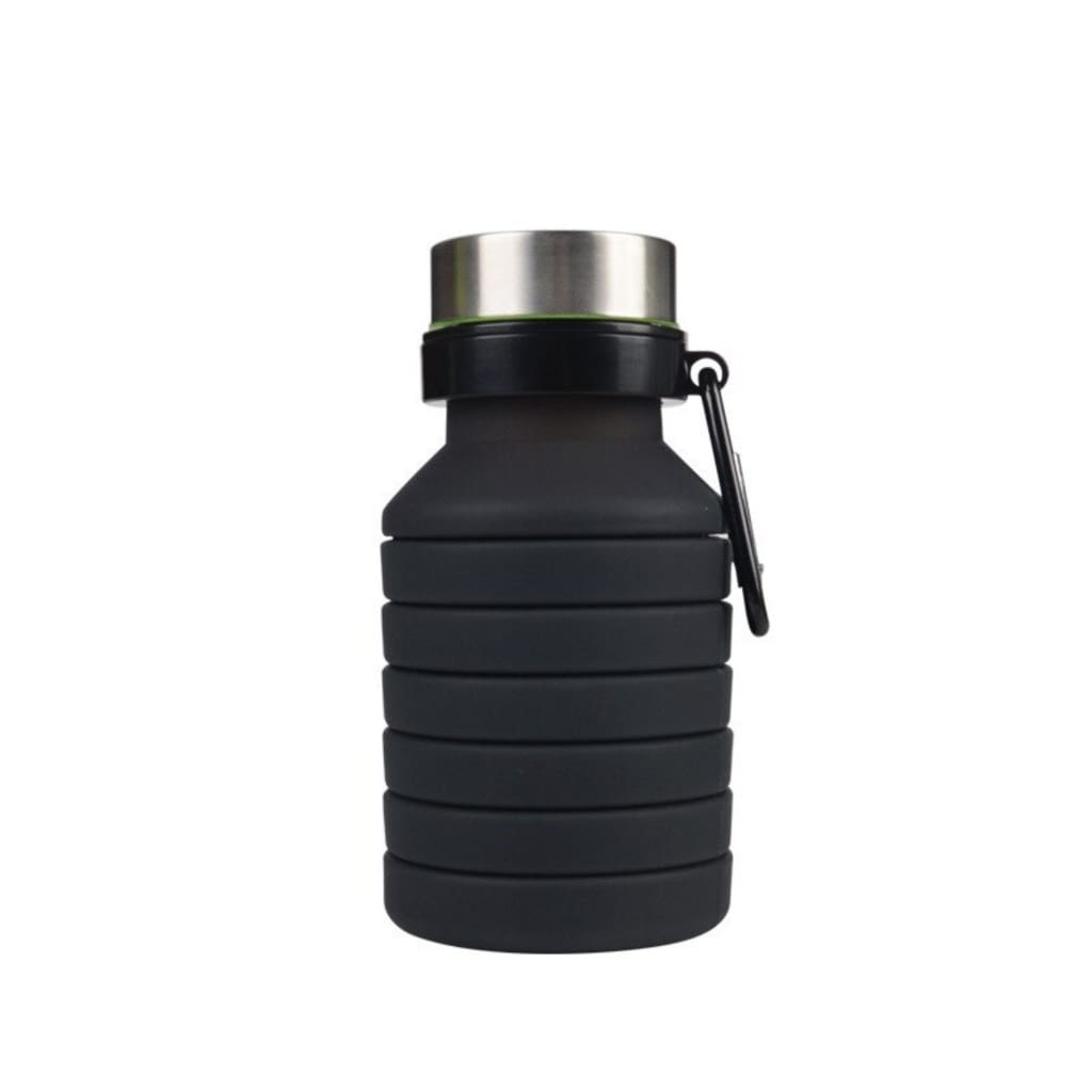 Folding Silicone Water Bottle - Black - Water Bottle
