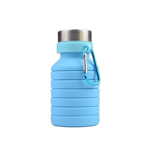 Folding Silicone Water Bottle - Blue - Water Bottle