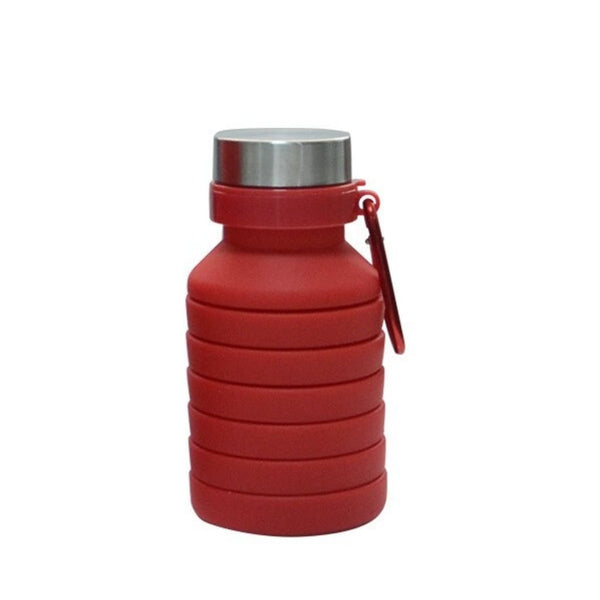 Folding Silicone Water Bottle - Red - Water Bottle