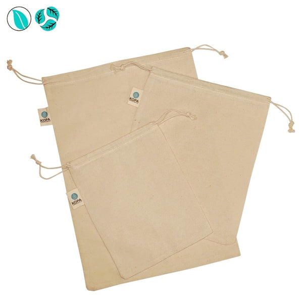 Organic Cotton Bags - 3pc - Produce Bags