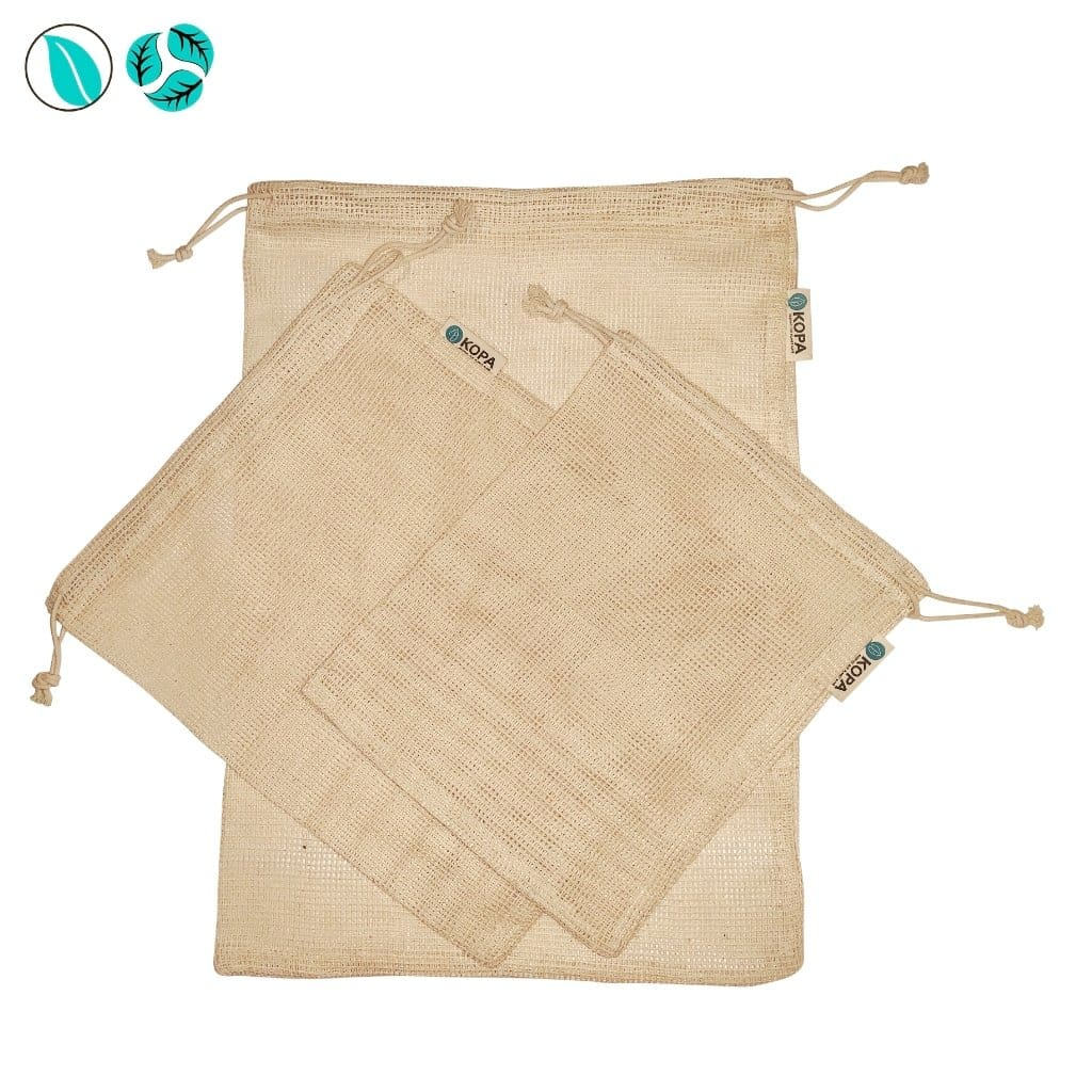 Organic Cotton Mesh Produce Bags - 3pc - Produce Bags