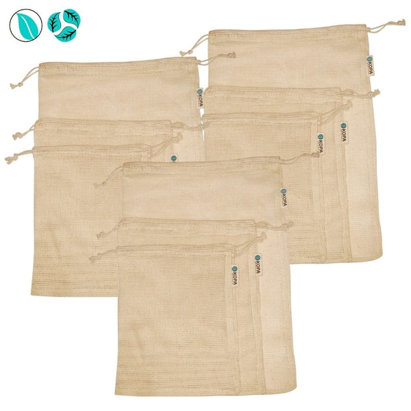 Organic Cotton Mesh Produce Bags - 9pc - Produce Bags