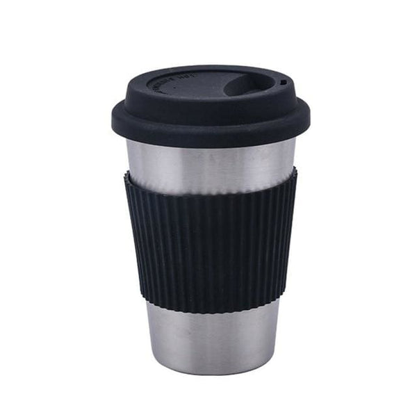 Stainless Steel Coffee Cup with Silicone Lid and Grip - Black - Cups and Tumblers