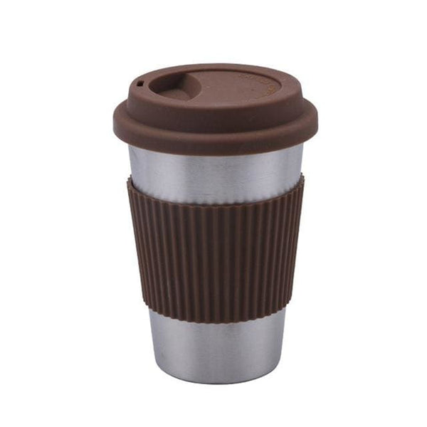 Stainless Steel Coffee Cup with Silicone Lid and Grip - Brown - Cups and Tumblers