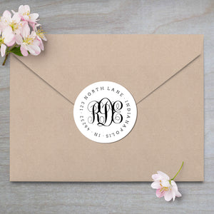 Interlocking Monogram Address Label on kraft envelope