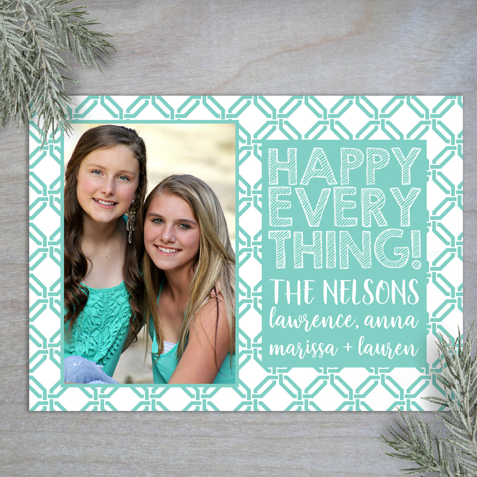 Personalized custom modern link photo holiday card