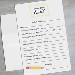 Personalized Fill in the blank stationery for kids with yellow pencil graphic