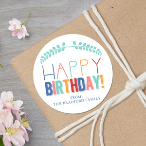 Personalized colorful happy birthday round gift sticker