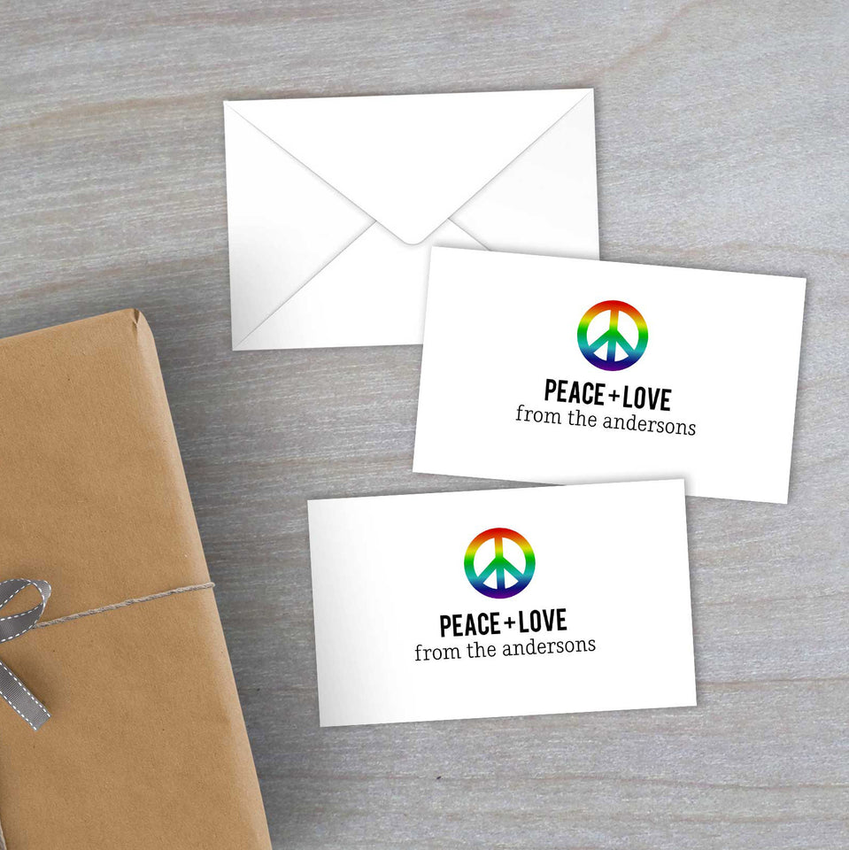 Personalized rainbow peace sign gift card enclosures with mini envelopes
