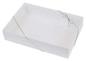 white cardboard stationery gift box with silver elastic band