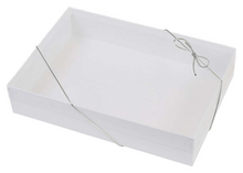 Load image into Gallery viewer, white cardboard stationery gift box with silver elastic band