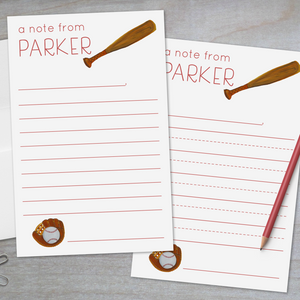 baseball and softball lined stationery for kids