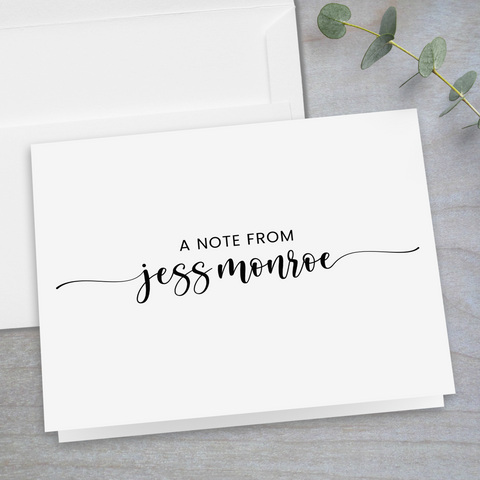 calligraphy script folded note card