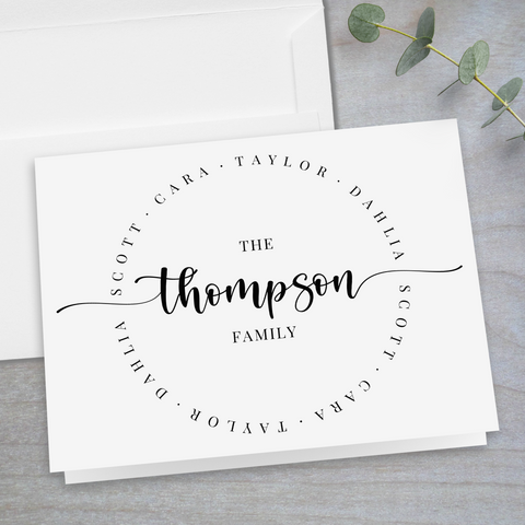 Calligraphy Script Family Circle - Folded Note Card
