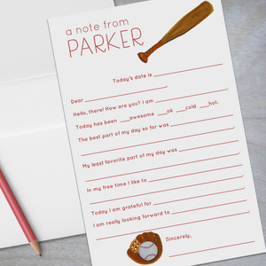 baseball and softball fill in the blank stationery for kids