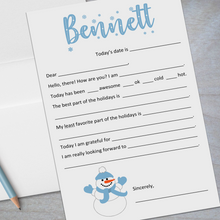 Load image into Gallery viewer, blue snowman fill in the blank stationery for kids