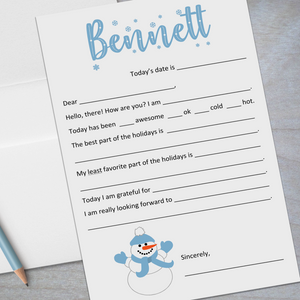 blue snowman fill in the blank stationery for kids