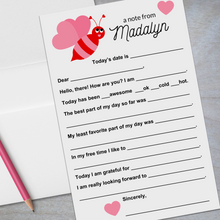 Load image into Gallery viewer, valentine bumble bee red and pink lined stationery for kids