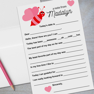 valentine bumble bee red and pink lined stationery for kids