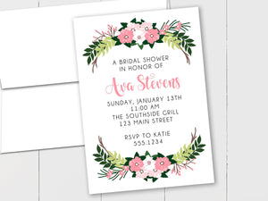 Flower Bouquet Bridal Shower Custom Invitation The Note House