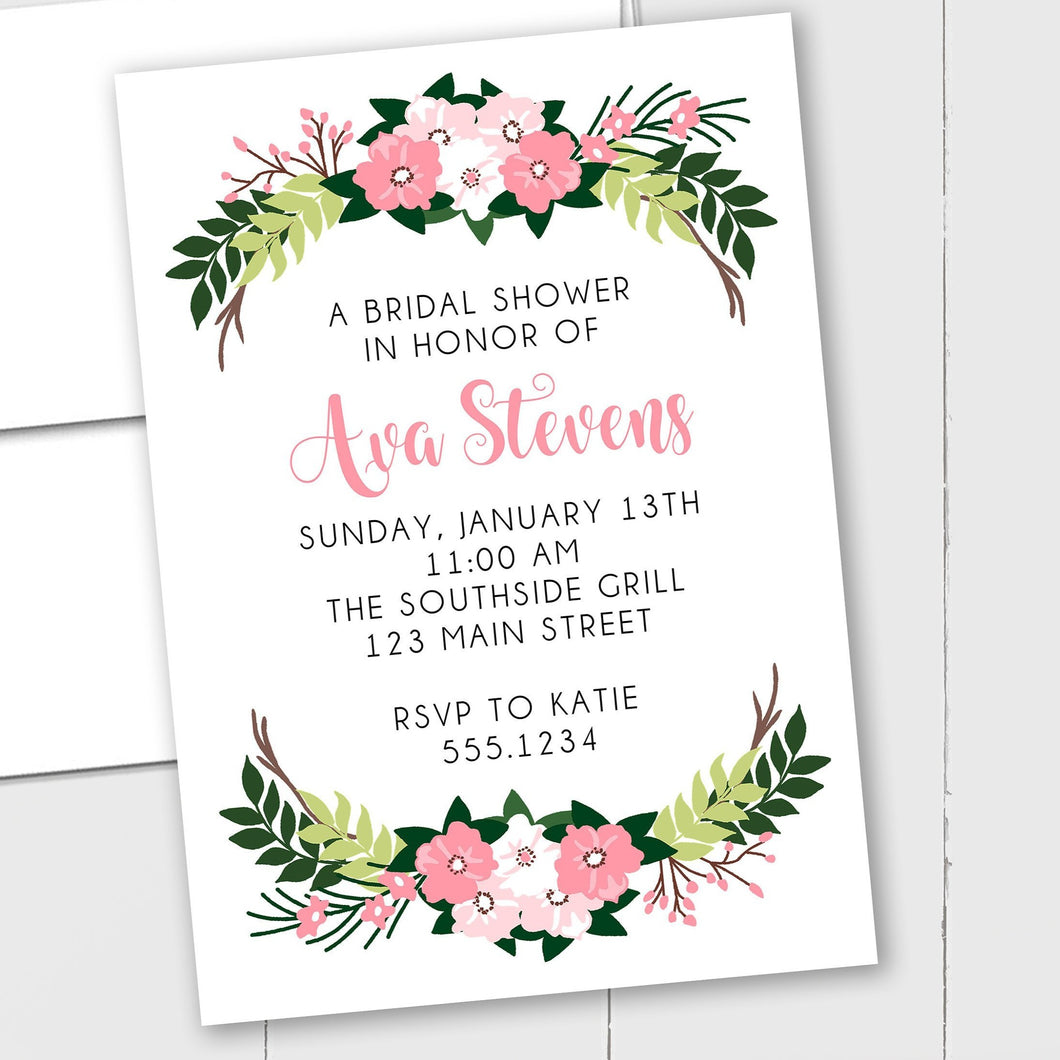 Flower Bouquet Bridal Shower - Custom Invitation