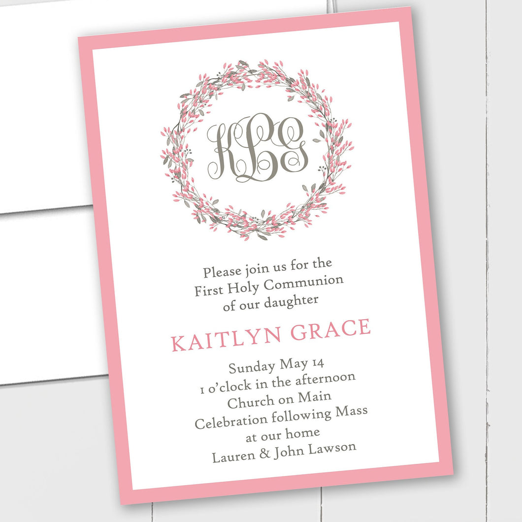 Monogram Floral Wreath - Custom Invitation