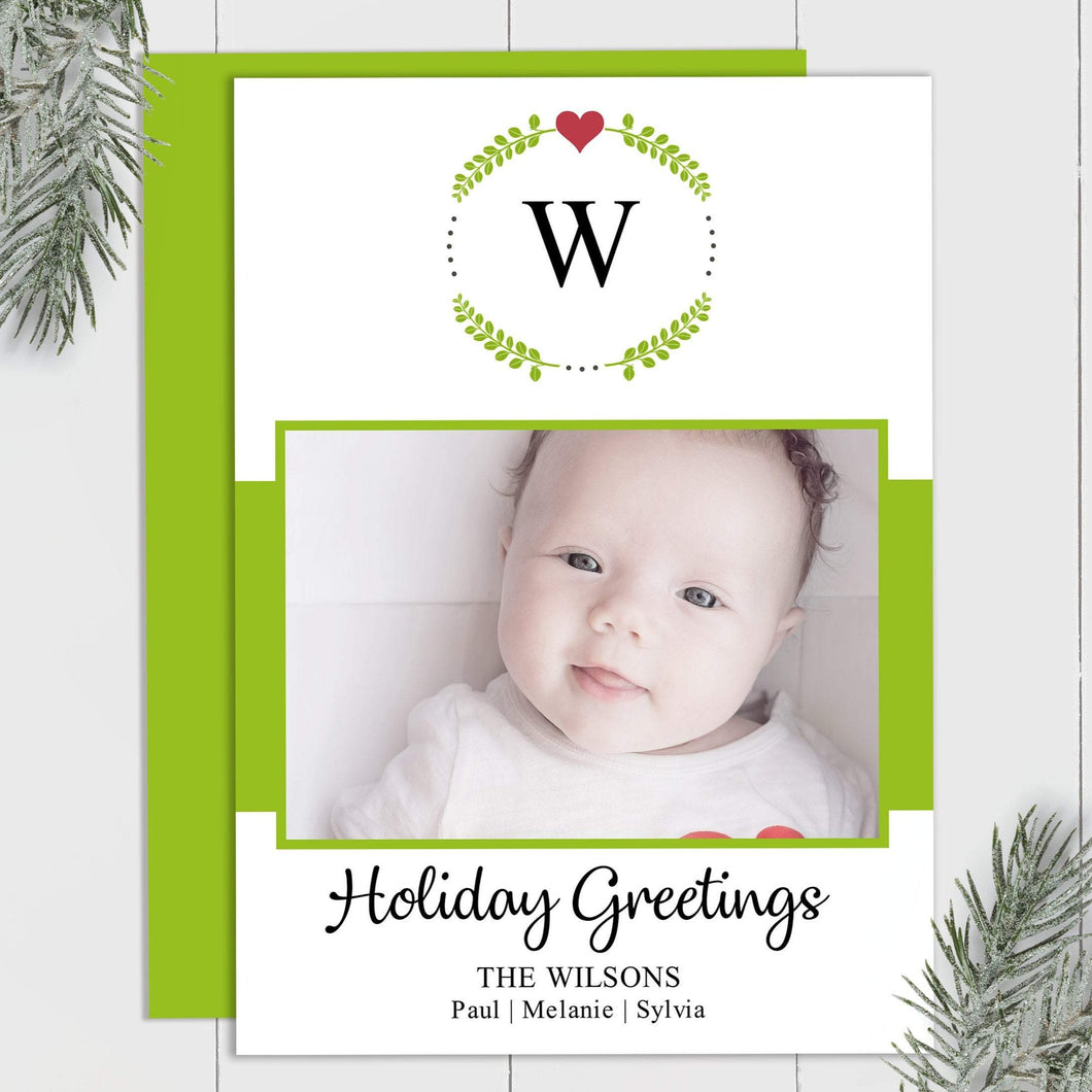 Monogram Wreath - Custom Photo Card