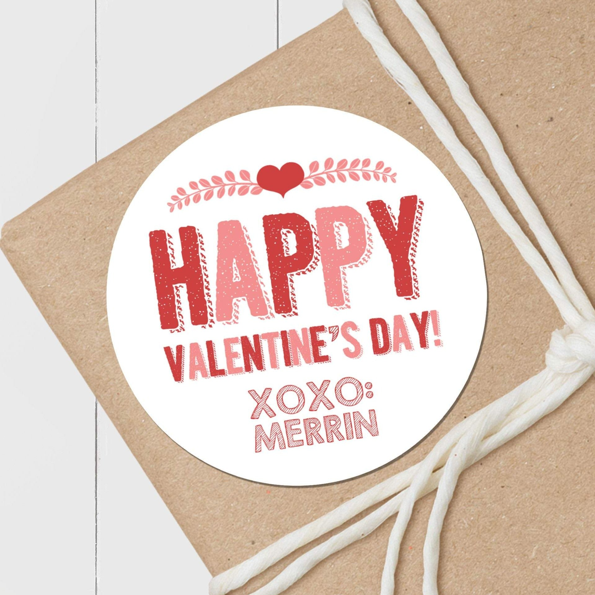Branches and Heart - Round Gift Sticker