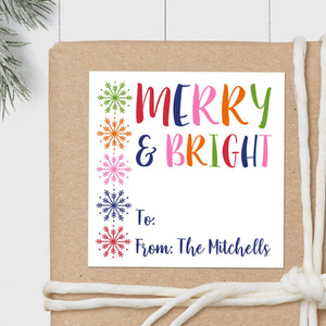 Merry and Bright Snowflakes - Square Gift Sticker