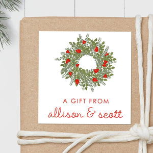 Christmas Wreath - Square Gift Sticker