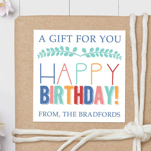 Happy Birthday - Square Gift Sticker
