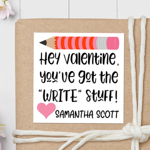 Valentine Pencil - Square Gift Sticker