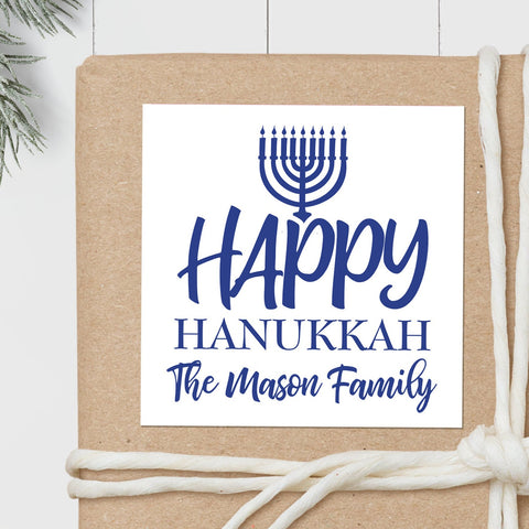 Hanukkah Menorah - Square Gift Sticker