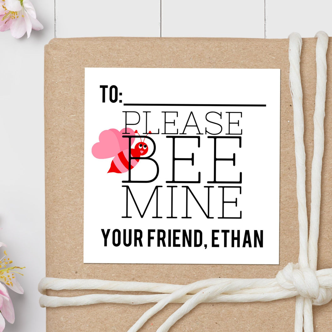 Bee Mine Valentine's Day - Square Gift Sticker