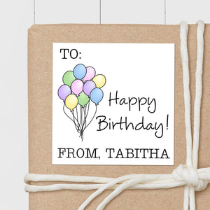 Birthday Balloons Pastel - Square Gift Sticker