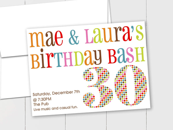 Colorful Birthday Bash - Custom Invitation