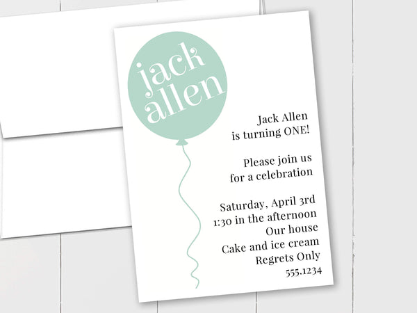 Birthday Balloon - Custom Invitation