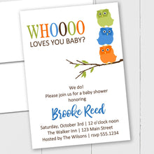 Load image into Gallery viewer, Baby Owls - Custom Invitation
