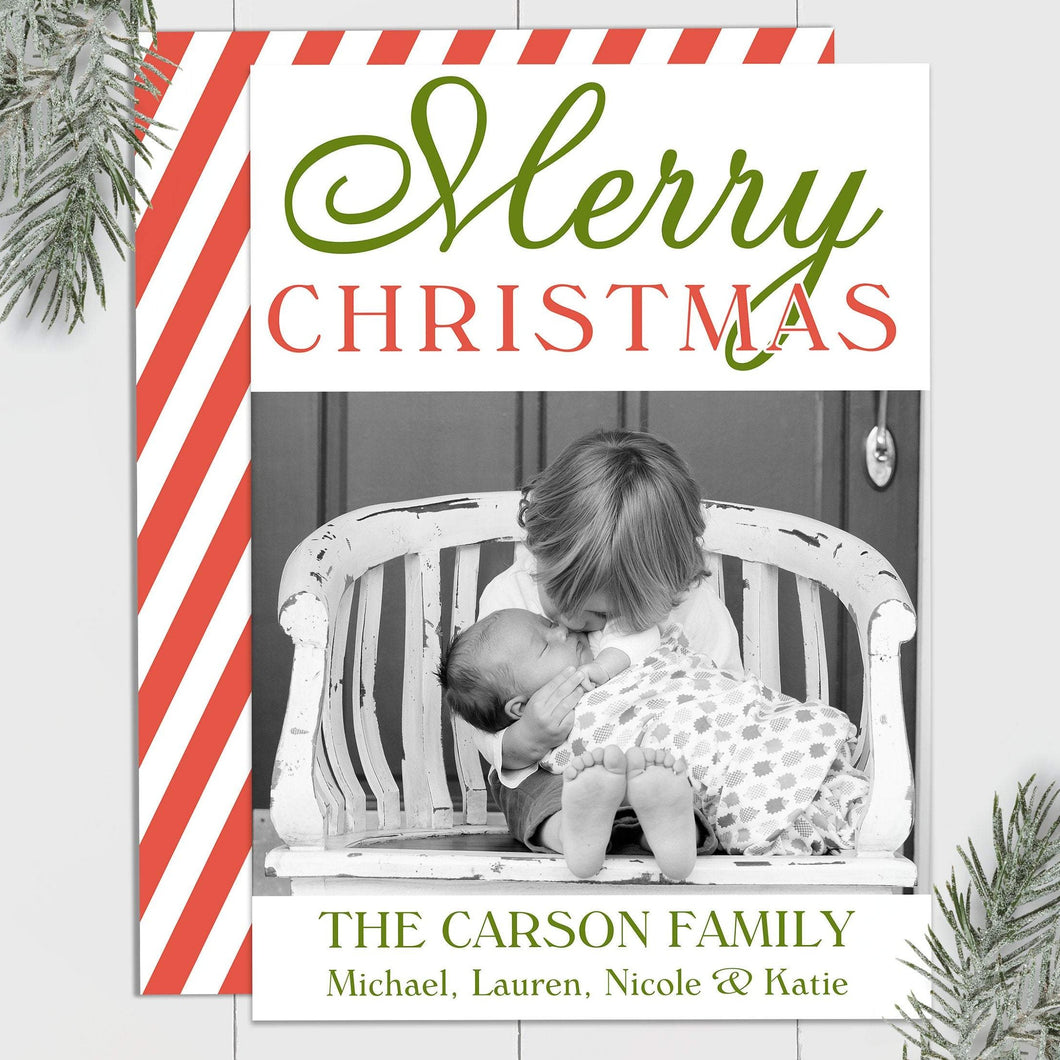 Merry Christmas Stripes - Custom Photo Card
